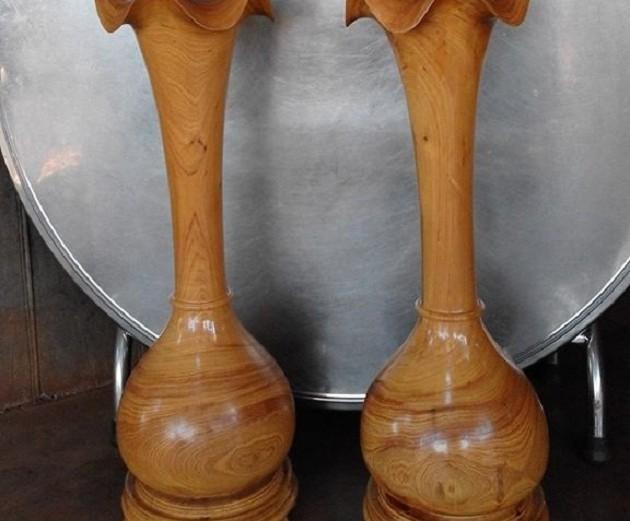 Lục bình gỗ Pơmu cao cấp vân cực đẹp, cao 80cm giá rẻ