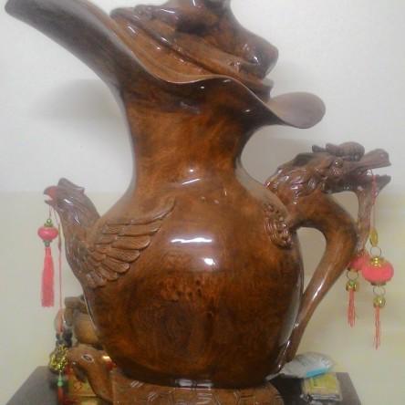 Bình gỗ Tứ Linh nghệ thuật