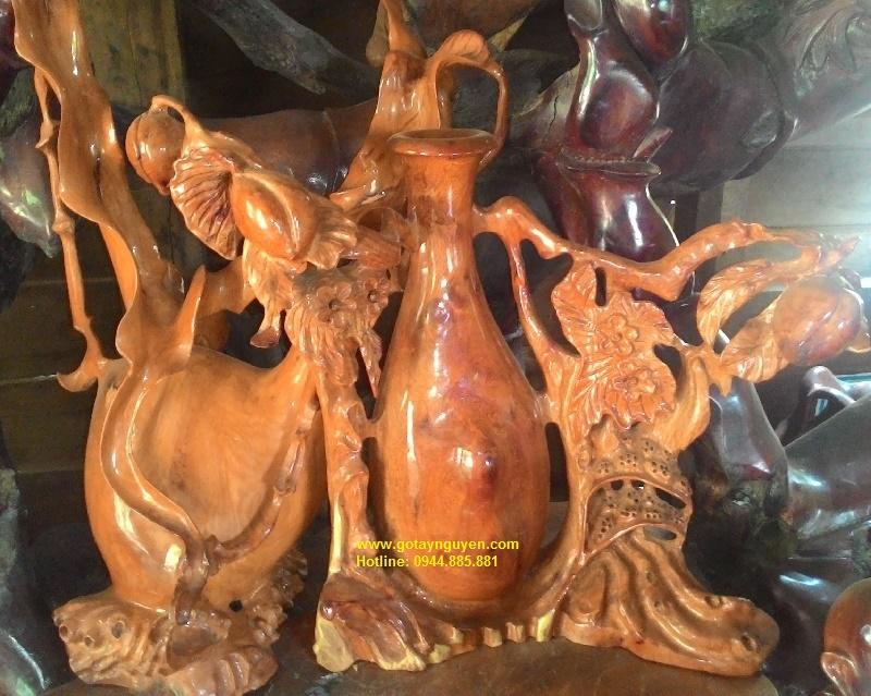 Bình gỗ nghệ thuật quả đào tiên